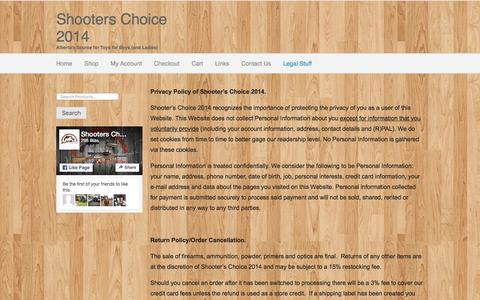 Screenshot of Terms Page shooterschoice.ca - Legal Stuff | Shooters Choice 2014 - captured June 23, 2016