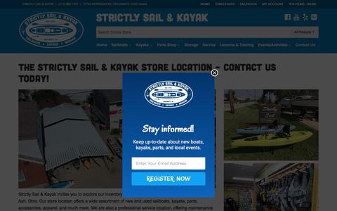 Screenshot of Contact Page Maps & Directions Page strictlysailinc.com - The Strictly Sail & Kayak Store Location - Contact Us Today! - Strictly Sail & Kayak Cincinnati - captured July 2, 2018