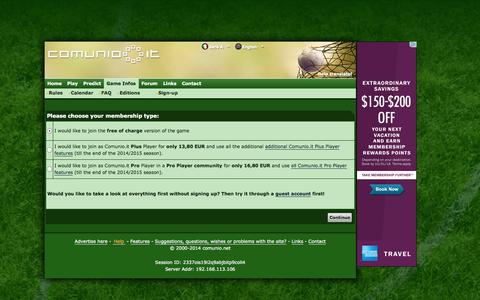 Screenshot of Signup Page comunio.it - COMUNIO football manager, soccer manager, fantasy football, Serie A manager - captured Oct. 31, 2014