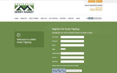 Screenshot of Signup Page moneymarket.com.au - Australian Money Market - captured Feb. 6, 2016
