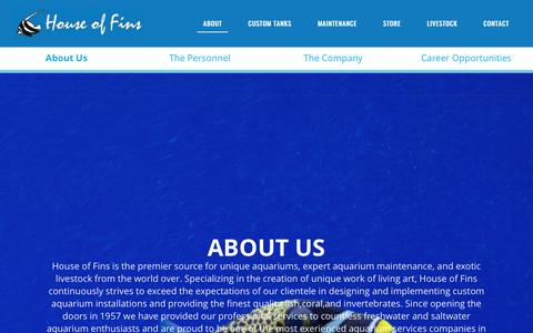 Screenshot of About Page houseoffins.com - House of fins - captured May 23, 2017