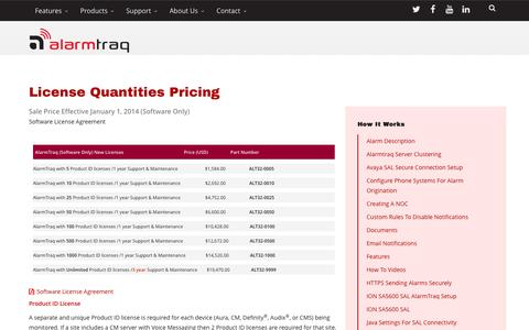 Screenshot of Pricing Page alarmtraq.com - AlarmTraq™ How It Works: License Quantities Pricing - captured July 25, 2016