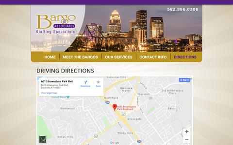 Screenshot of Maps & Directions Page bargoandassociates.com - Bargo & Associates - DIRECTIONS - captured Nov. 13, 2018