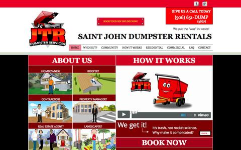 Screenshot of Home Page jtrdumpster.com - Saint John Dumpster Rental - captured Oct. 6, 2014