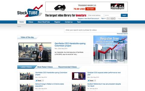 Screenshot of Home Page stocktube.com - StockTube - share prices, video interviews & breaking news covering global stock markets - captured Sept. 19, 2014