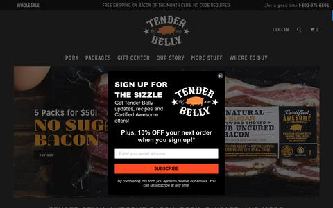 Screenshot of Home Page tenderbelly.com - Tender Belly: Awesome Bacon, Ham, Pork, Sausage, and more                | Tender Belly - captured Jan. 16, 2019