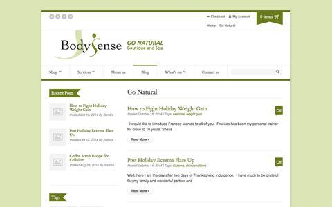 Screenshot of Blog bodysense.org - Go Natural | Body Sense - captured Oct. 29, 2014