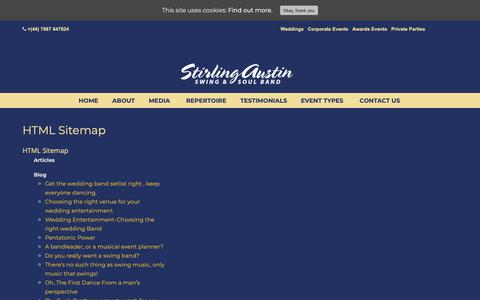 Screenshot of Site Map Page stirlingaustin.com - HTML Sitemap – Swing Band For Weddings and Corporate events - captured Oct. 20, 2018