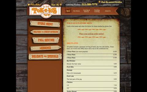 Screenshot of Menu Page pokejos.com - Pok-e-Jo's - Store Menu - BBQ - Barbecue - Barbeque - captured Oct. 2, 2014
