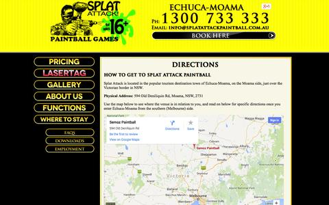 Screenshot of Maps & Directions Page splatattackpaintball.com.au - Splat Attack Paintball: Echuca-Moama - Directions - captured Oct. 1, 2014