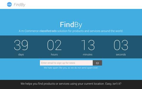 Screenshot of Home Page findby.co - FindBy || A m-Commerce solution for products and services around the world - captured Sept. 30, 2014
