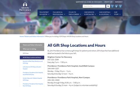 Screenshot of Hours Page stjohnprovidence.org - All Gift Shop Locations and Hours - captured Feb. 22, 2016