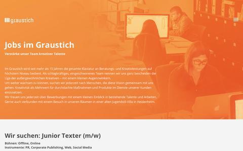 Screenshot of Jobs Page graustich.com - Jobs | Graustich - Agentur für Design, Strategie und Vision - captured Jan. 29, 2018