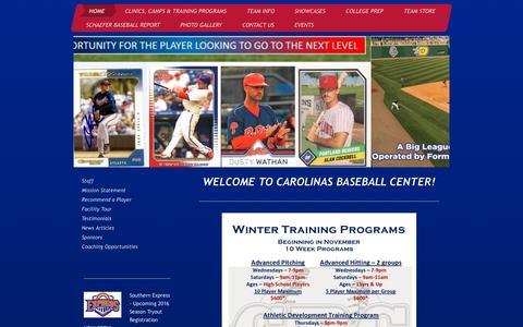 Screenshot of Home Page cbcbaseball.net - Charlotte Youth/Travel and Showcase Baseball Community - captured Sept. 20, 2015