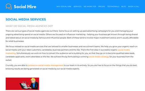 Screenshot of Services Page social-hire.com - Social Media Services | Social Hire - captured May 25, 2019