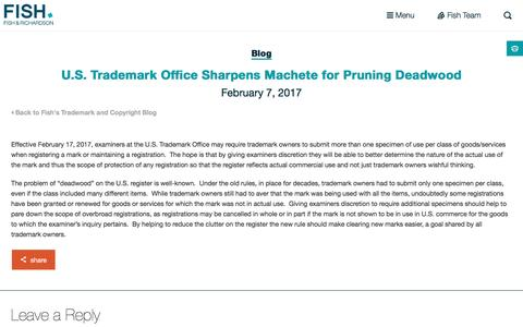 Screenshot of fr.com - U.S. Trademark Office Sharpens Machete for Pruning Deadwood | Fish - captured Feb. 8, 2017