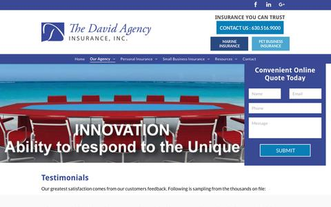 Screenshot of Testimonials Page thedavidagency.com - The David Agency Insurance | Elmhurst, IL - captured Oct. 19, 2018
