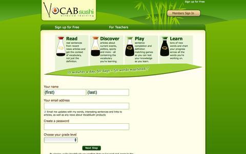 Screenshot of Signup Page vocabsushi.com - Sign Up for VocabSushi - captured Feb. 23, 2016