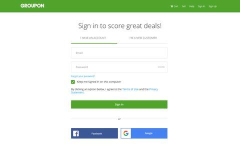 Screenshot of Login Page groupon.com - Sign In - captured Dec. 11, 2018
