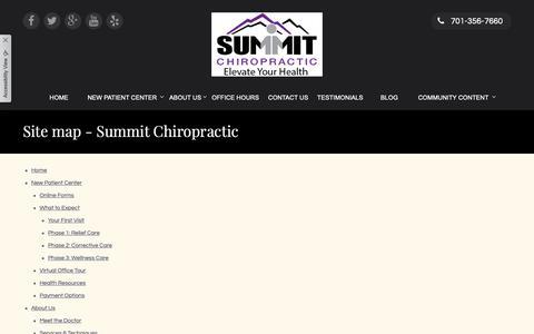Screenshot of Site Map Page summitchirofargo.com - Site map - Summit Chiropractic - captured Oct. 18, 2018