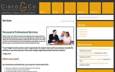 Screenshot of Services Page ciscocpa.com - Accounting Services - captured Nov. 27, 2016