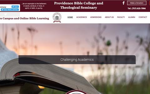 Screenshot of Home Page pbcts.edu - Home | Providence Bible College and Theological Seminary - captured Nov. 11, 2018