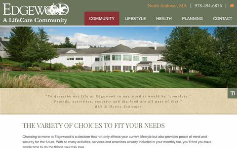 Screenshot of Pricing Page edgewoodrc.com - Pricing | Edgewood | A LifeCare Community in North Andover, MA - captured Nov. 10, 2018