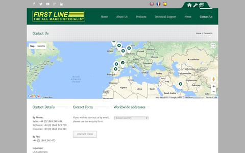 Screenshot of Contact Page firstline.co.uk - First Line   –  Contact Us - captured Oct. 13, 2017