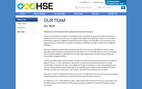 Screenshot of Team Page hsedirectory.com.au - Contact The Health, Safety & Environment Directory - HSE Directory - captured Sept. 26, 2014