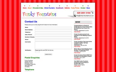 Screenshot of Contact Page funky-fountains.co.uk - Contact - Funky Fountains - THE chocolate fountain company serving South Wales and the South West - captured Oct. 6, 2014