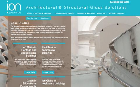 Screenshot of Case Studies Page ionglass.co.uk - Ion Glass Solutions |Glass solutions |Glass installations case studies - captured Oct. 6, 2014