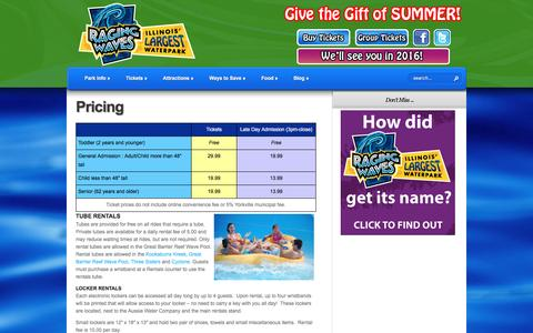 Screenshot of Pricing Page ragingwaves.com - Pricing - Raging Waves Waterpark - captured Jan. 19, 2016