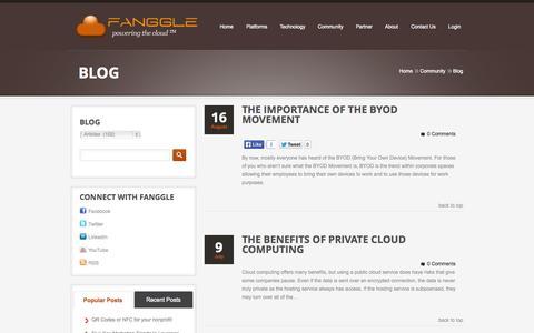 Screenshot of Blog fanggle.com - Articles  |  Fanggle | Vertical Cloud Platforms - captured Sept. 30, 2014