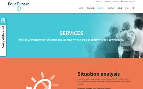 Screenshot of Services Page educexpert.com - SERVICES | EducExpert - captured July 11, 2016