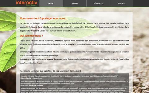 Screenshot of Home Page agence-interactiv.com - Agence de communication à Verviers spécialisée dans la création de site Internet - Interactiv Happy Agency - captured April 18, 2016