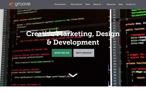 Screenshot of Home Page gotgroove.com - Magento Gold Partner | Hubspot Platinum Partner | Groove: Creative Marketing, Design & Development - captured Dec. 1, 2015