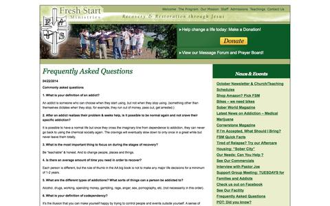 Screenshot of FAQ Page freshstartministries.com - Frequently Asked Questions  | Fresh Start Ministries - captured Oct. 6, 2014