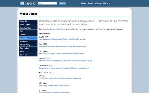 Screenshot of Press Page triporati.com - Media Center - Triporati - captured Aug. 23, 2016