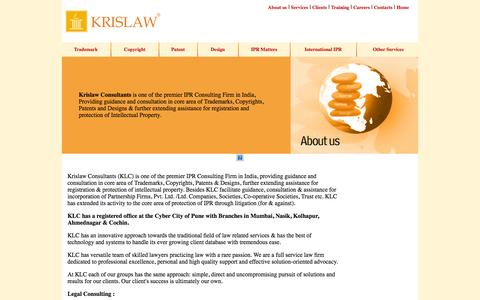 Screenshot of About Page krislawip.com - Krislaw Consultants - Trademark, Copyright, Patent, Design, IPR Matters, International IPR, Formation of Company, Pvt, Ltd, Registration of Firms, Partnership, Registration of Trusts, Society, Association, ISO Certification - captured Oct. 27, 2014