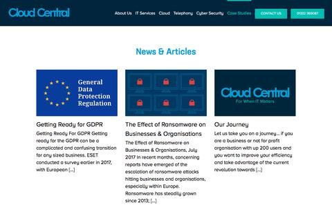 Screenshot of Press Page cloudcentral.co.uk - News and Insights - Cloud Central - captured July 23, 2018