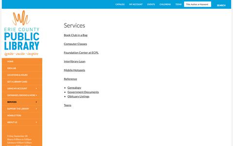 Screenshot of Services Page erielibrary.org - Services | Erie County Public Library - captured Sept. 28, 2018