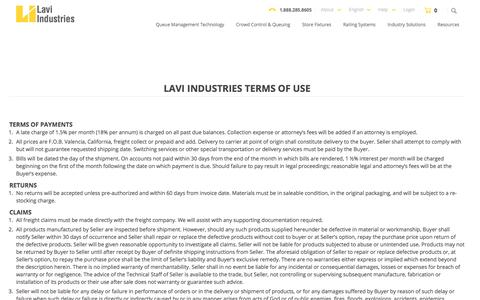 Screenshot of Terms Page lavi.com - Terms and Conditions - Lavi Industries - captured July 20, 2017