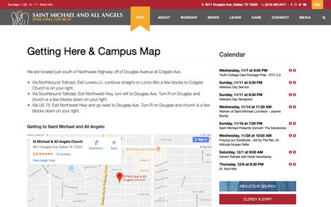 Screenshot of Contact Page Maps & Directions Page saintmichael.org - Getting Here & Campus Map | Saint Michael and All Angels - captured Oct. 31, 2018