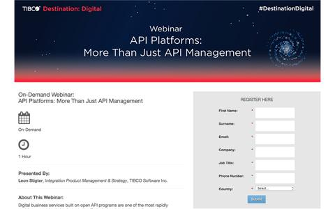Screenshot of Landing Page tibco.com - API Platforms: More Than Just API Management - captured June 25, 2016