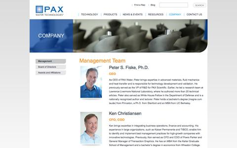 Screenshot of Team Page paxwater.com - Management - captured Oct. 1, 2014