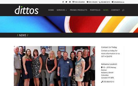 Screenshot of Press Page dittos.ca - News | dittos | Lake Country & Kelowna, British Columbia - captured Dec. 19, 2018