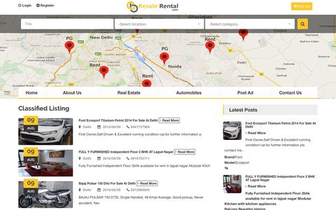 Screenshot of Home Page resalerental.com - Post Free Classified Ads, Free Classified for Sell, Rent, Lease Your Product. - captured Aug. 13, 2016