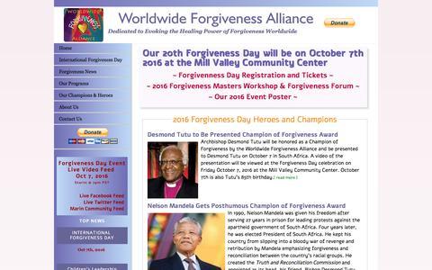 Screenshot of Home Page forgivenessalliance.org - Worldwide Forgiveness Alliance - captured April 9, 2017