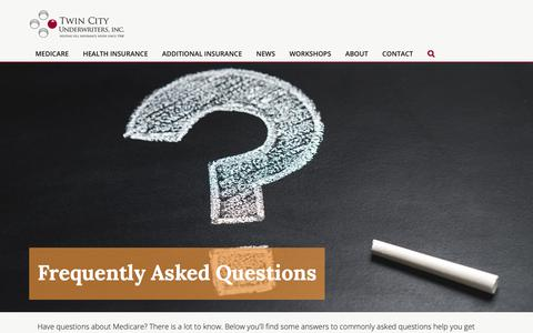 Screenshot of FAQ Page twincityunderwriters.com - FAQ's - Minnesota Medicare & Supplemental Insurance - captured Oct. 18, 2018