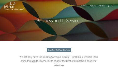 Screenshot of Services Page ivision.com - Business and IT Consulting Services | iVision - captured July 31, 2016